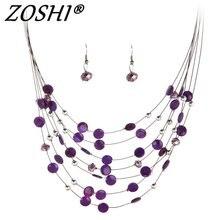ZOSHI 2017 conjuntos de joyería de moda para mujer Joyeria cuentas de cristal collares de declaración conjunto de pendientes Bijoux Parure Bijoux Mujer