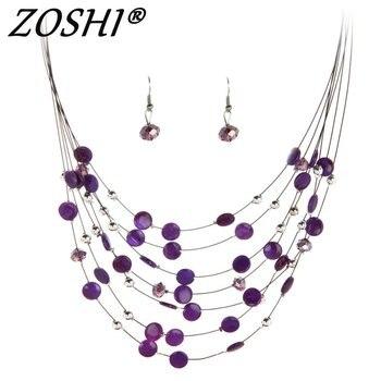 ZOSHI Fashion Jewelry Sets for Women Joyeria Crystal Beads Statement Necklaces Earrings Set Bijoux Parure Bijoux