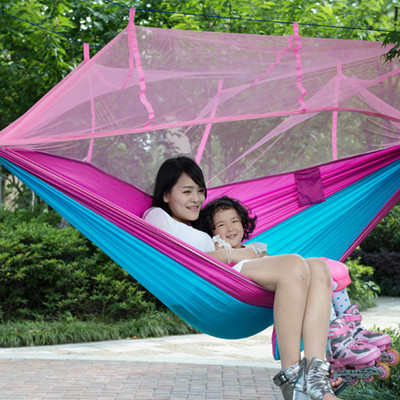 2016 NEW Stitching Color Portable Outdoor Parachute Cloth Double Hammock Air Tent with Mosquito Net 260*140cm 2 people portable parachute hammock outdoor survival camping hammocks garden leisure travel double hanging swing 2 6m 1 4m 3m 2m
