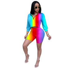Autumn Two Piece Set Summer Tracksuit Women Crop Top and Shorts Set Casual Sportwear 2 Piece Outfits for Women Sweat Suits streetwear two piece set women s costumes contrast color hooded crop top and skinny shorts female suits autumn sweatsuits zogaa