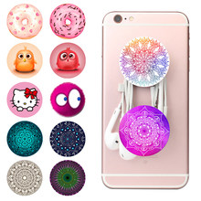 Round Pop Mobile Phone Holder Socket Stand Flexible Grip Marble Mandala Grain Expanding Bracket Tablets Mount Phone Case Sticker(China)