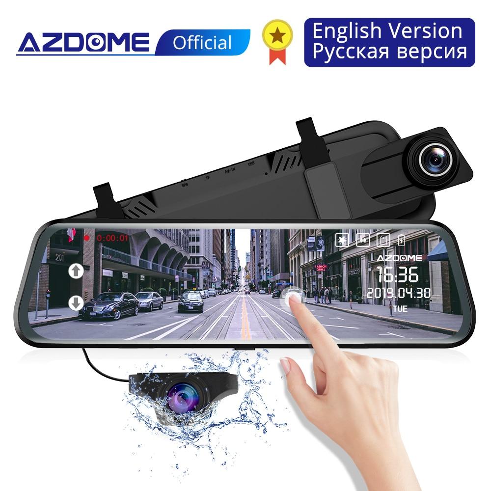 AZDOME PG02 10 Streaming Media Mirror Dash Cam Full Screen Touching Dual Lens Night Vision 1080P Front 720P Backup Car DVR ADAS