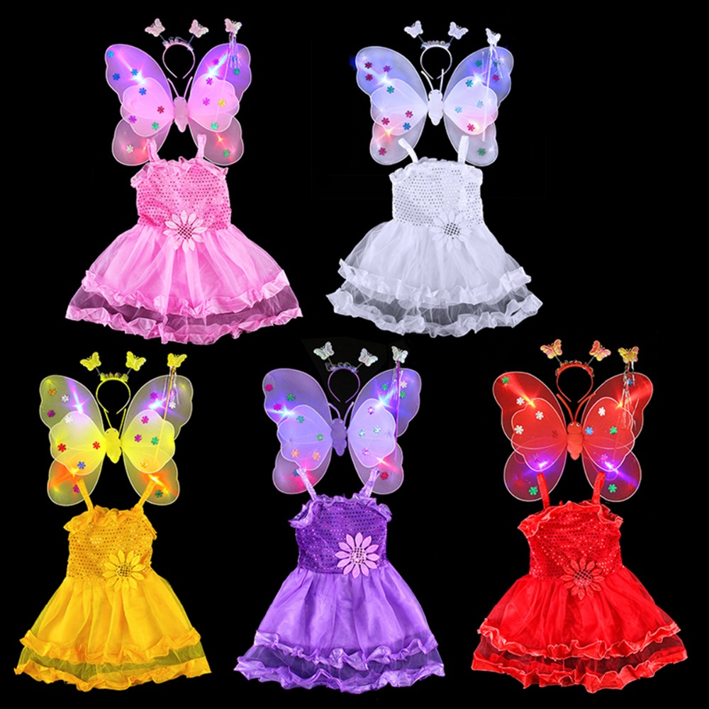 Free shipping cute lovely children dance performance stage costume skirt kids dancewear with butterfly wing,head band and stick