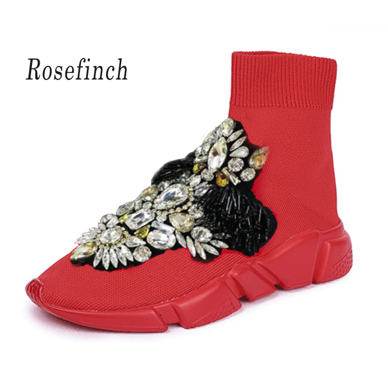 Luxury Rhinestones Sneakers Crystal Women Fashion Sneakers Stretch Sock Boots Sport Knit Sock Sneakers Red Casual Shoes WK109