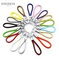 Marcas HAVARIA Tejida Cuerda de Cuero de LA PU 15 colores de los hombres llavero mujeres titular de la clave llavero anillo llavero de coche llaveros bolsa colgante Encanto gxy-001