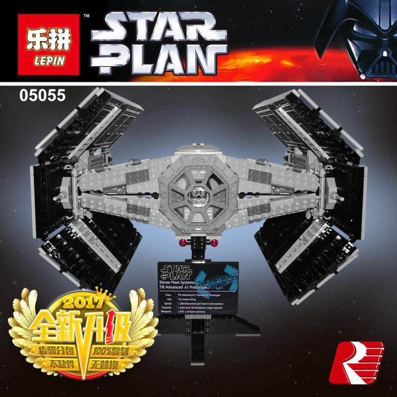 Lepin 05055 Star 1212pcs The Rogue One USC Vader TIE Advanced Fighter Set 10175 Building Blocks Bricks Educational War for kids lepin 05055 star 1212pcs the rogue one usc vader tie advanced fighter set 10175 building blocks bricks educational war