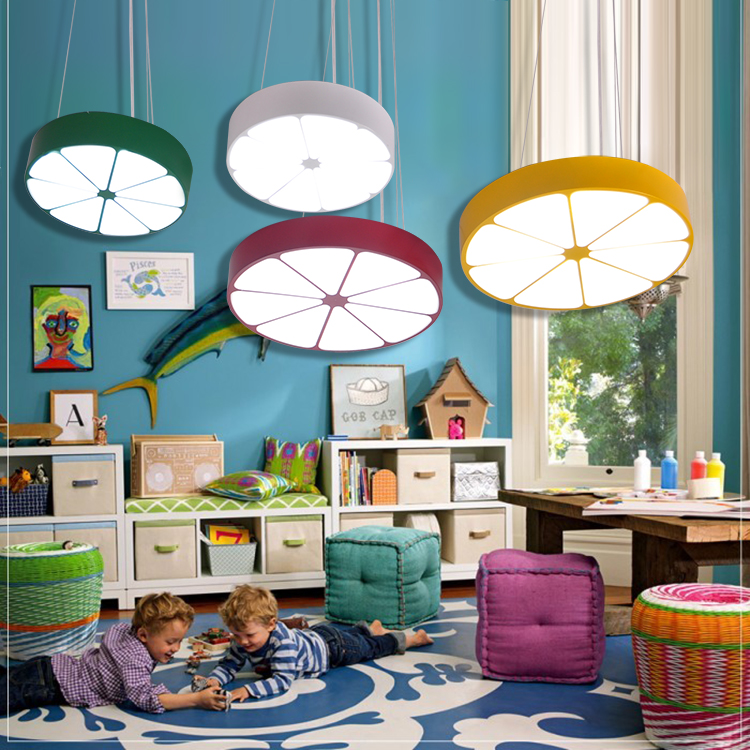 Children lamp Pendant Lights personality color orange lemon cartoon light LED children room boy girl room baby bedroom lamp ET80 led suction dome light fashion cartoon study bedroom children s room lights