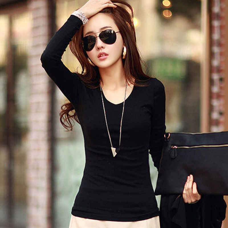 Basic T Shirt เสื้อเชิ้ตสตรีแขนยาว 2016 ฤดูใบไม้ผลิฤดูใบไม้ร่วง TEE ผู้หญิงเสื้อคอวี New PLUS ขนาด TShirt
