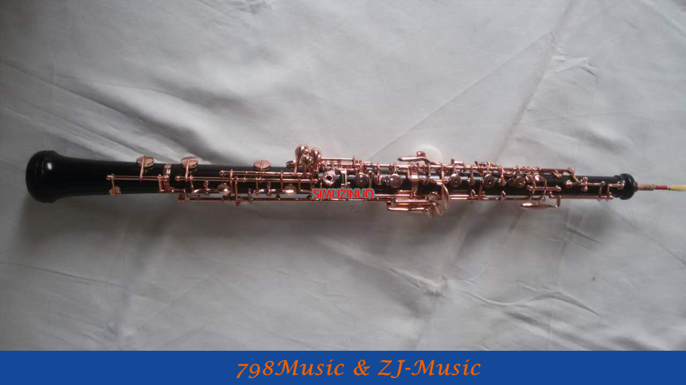 Professional Grenadilla Black Wooden Body Oboe Rose Gold Plated C Key With Case-Semi-Automatic
