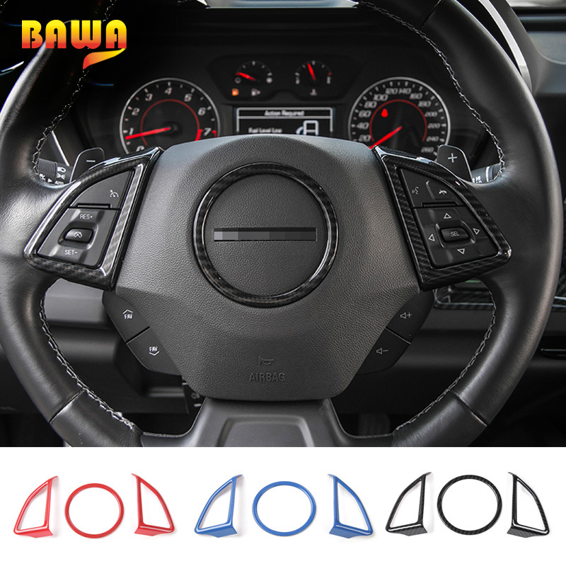 HANGUP ABS <font><b>Car</b></font> Interior Steering <font><b>Wheel</b></font> Decoration Ring <font><b>Cover</b></font> Trim Stickers For Chevrolet Camaro 2017 Up <font><b>Car</b></font> Styling image