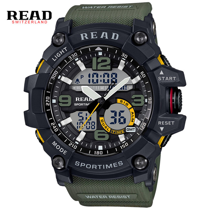 READ Sports Watches For Men Watch Dual Time Zones Analog Quartz Digital Wristwatches Waterproof Military Relogio Masculino XFCS