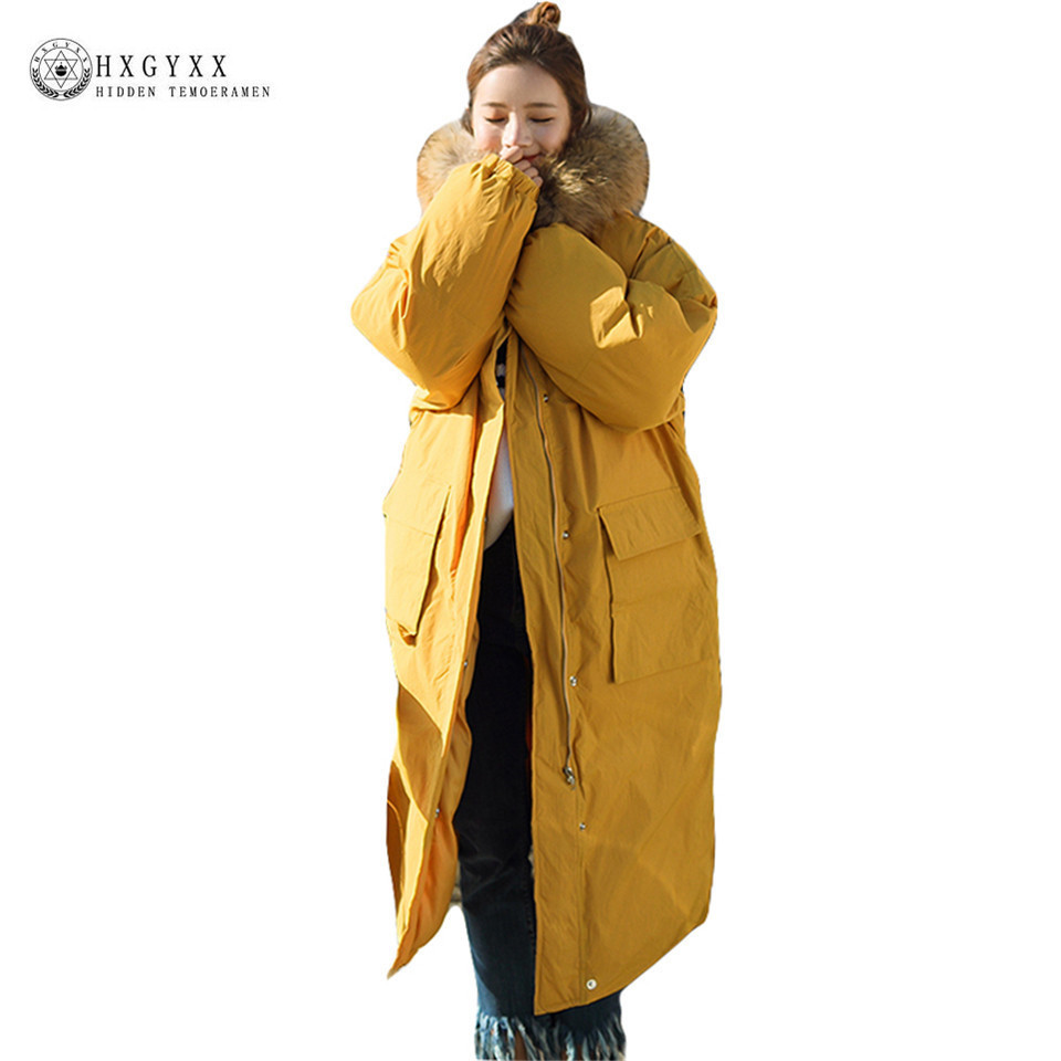 Yellow Large Fur Fashion Hooded Military Parka Plus Size Coat Winter Quilted Jacket Women 2017 Warm X-long Zipper Outwear Okb129 new fashion winter jacket women fur collar hooded jacket warm thick coat large size slim for women outwear parka women g2786