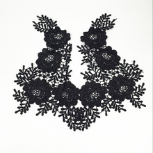 цены на 10Pcs Black Lace Applique Flower Embroidery Necklace Collar Fabric For Sewing Material DIY Wedding Decoration  в интернет-магазинах