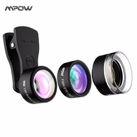 Mpow Fishieye Lens 3 In 1 Clip On 0 36X Super Angle 20X Macro Lens Kit