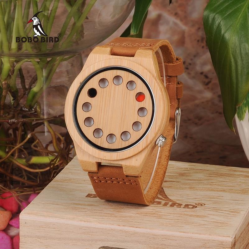 BOBO BIRD Watch Men Quality Bamboo Quartz Analog Wristwatch 12 Holes Design erkek kol saati Timepieces Leather Band as Gift 2018 fashion watch men retro design leather band analog alloy quartz wrist watch erkek kol saati