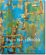 Cheap Abstract  ocean blue canvas art knife paint famous oil painting only on canvas for living room wall office decoration