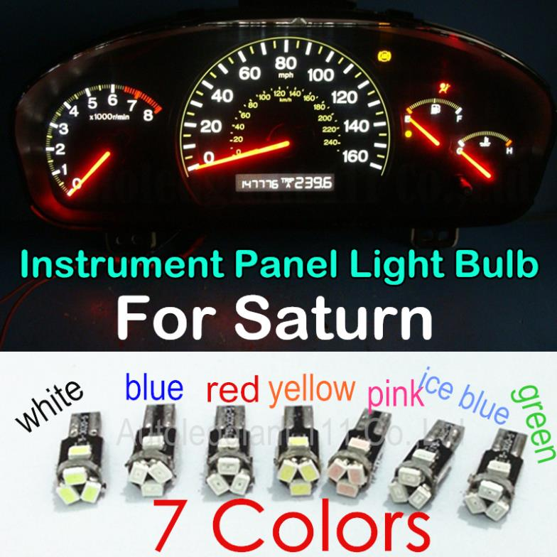 10pcs Led T5 For Saturn Sc Sc1 Sc2 Sl Sl1 Sl2 Sw1 Sw2 Instrument Panel Light Bulb White Blue Red Pink Green Yellow Ice