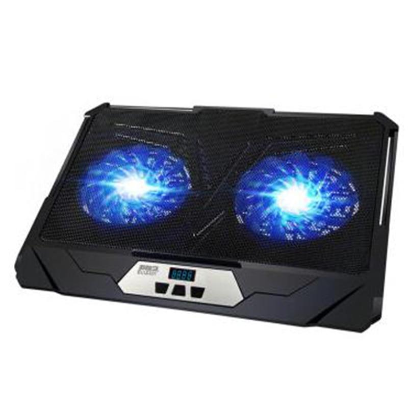 PCCOOLER Laptop Cooler Pad for 10-17 Laptop with blue LED 2 fan USB Port slide-proof stand Cooling Fan with light for asus u46e heatsink cooling fan cooler