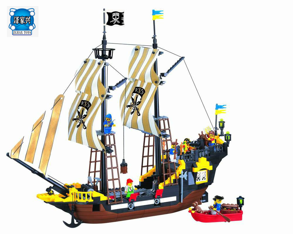 Enlighten Building Block Pirate Ship Boat Adventure 6 Figures 4 Cannons 590pcs Bricks Figures Toys Compatible Lepins lepin 22001 pirate ship imperial warships model building block briks toys gift 1717pcs compatible legoed 10210
