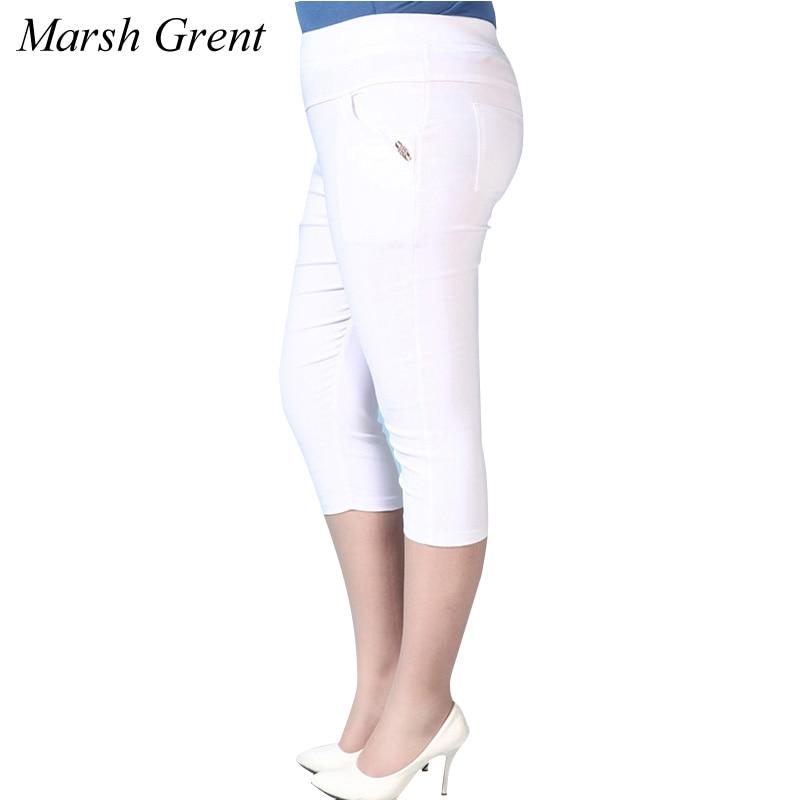 2018 Summer Plus Size 3XL-6XL Women   Capris     Pants   High Waist Elastic Women Casual   Pants   Cotton trousers   pants   Skinny   Pants  .