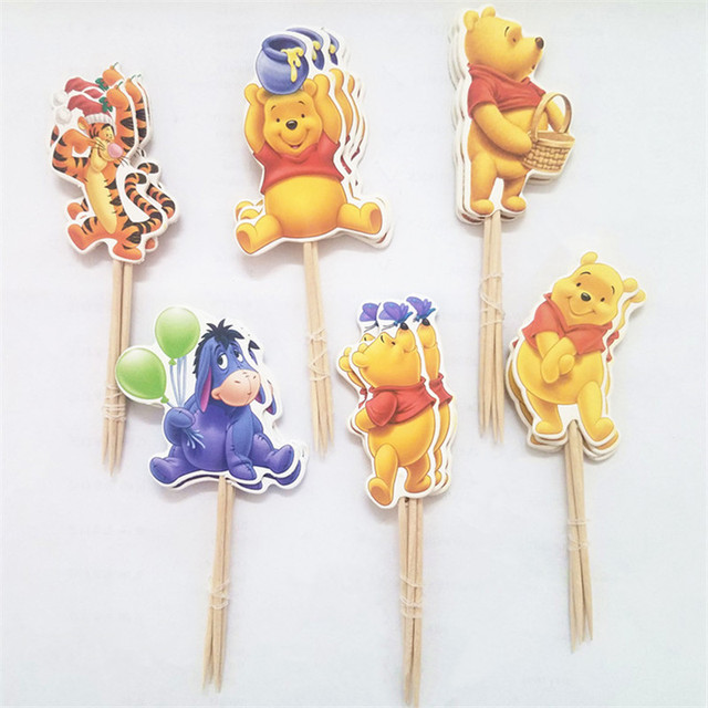 48pcs Event Party Supplies Cartoon Winnie The Pooh Cupcake Toppers