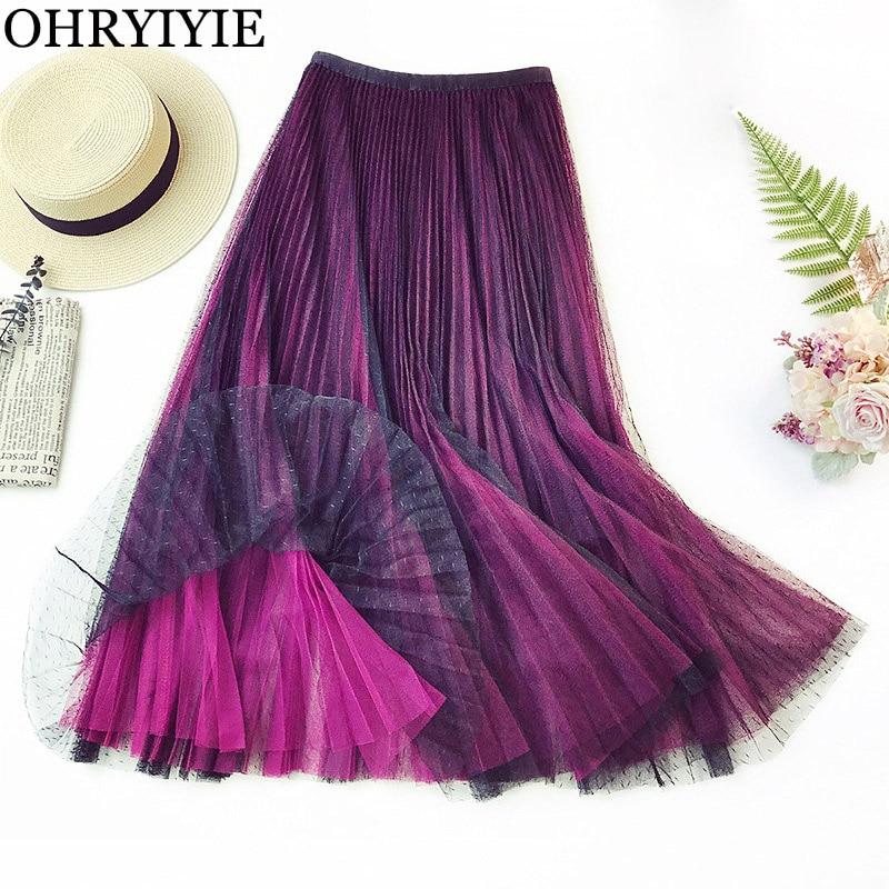 b62907a81 OHRYIYIE púrpura elegante tul Falda larga Mujer 2019 Otoño Invierno moda  Casual Polka Dot Faldas Mujer tutú malla Falda Mujer