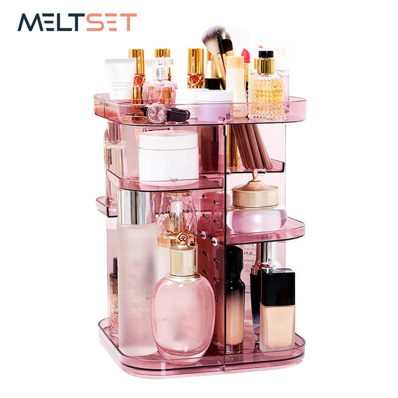 07891d1f9e27 2018 New 360-degree Rotating Makeup Organizer Transparent Cosmetic Storage  Box Brush Lipsticks Holder Plastic Jewelry Container
