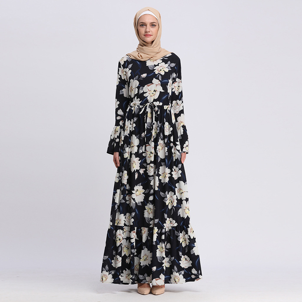 Abayas For Women Islamic Clothing Long Sleeve Flower Print Muslim Dress Maxi Dress Robe Flower Dubai Cardigan Ramadan 4.29