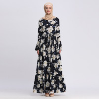 Abayas For Women Islamic Clothing Long Sleeve Flower Print Muslim Dress Maxi Dress Robe Flower Dubai Cardigan Ramadan 4.29
