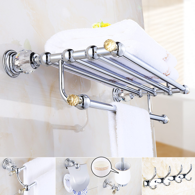 Chrome Crystal Bathroom Accessories Suite Br Hardware Set Modern Products Silver