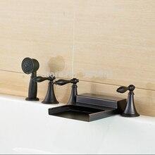 Масло Втирают Бронзовый Водопад Носик 5 шт. Ванна ванной Кран с Ручной Душ На Бортике Три Ручки