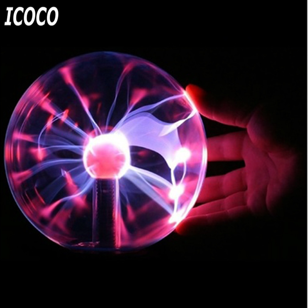 ICOCO 3 Inch USB Plasma Ball Electrostatic Sphere Light Magic Crystal Lamp Ball Touch Sensitive Transparent Desktop Lights