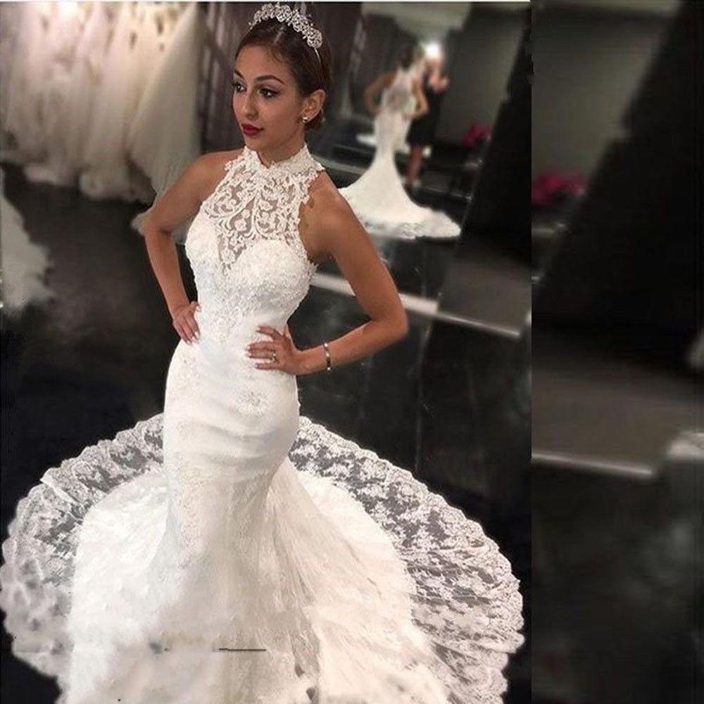 Lace Halter Wedding Gown: Lace Wedding Dress Halter Luxury Court Dress Bridal Dress
