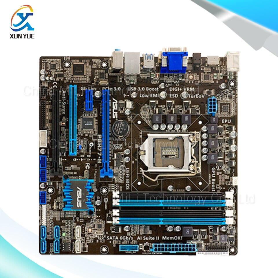 For P8H77-M Original Used Desktop Motherboard For Intel H77 Socket LGA 1155 For i3 i5 i7 DDR3 32G SATA3 USB3.0 uATX On Sale