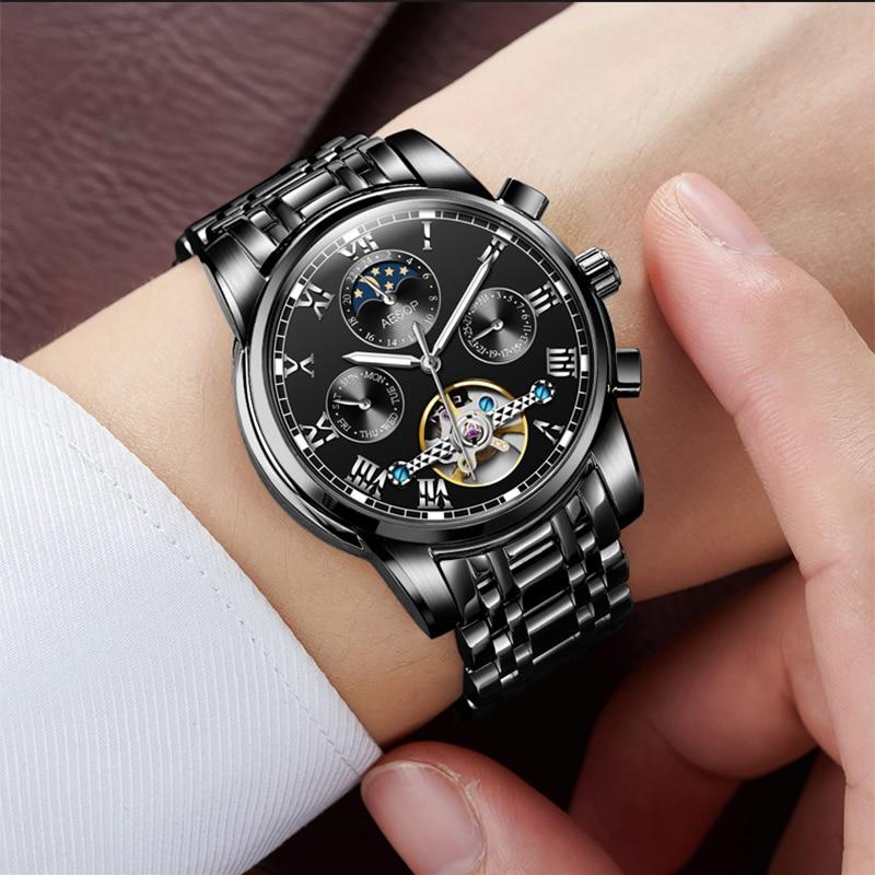 Aesop Waterproof Men Tourbillon Automatic Mechanical Watch Luxury Fashion Full Steel Man Calendar Week Multifunctional Watches цена 2017
