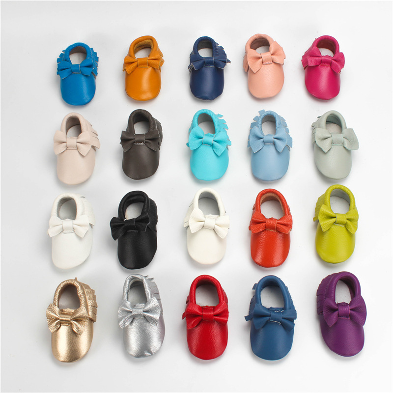 Genuine Leather Baby Moccasins First Walkers Soft Bottom Toddler Infant Fringe Bow Baby Girls Shoes