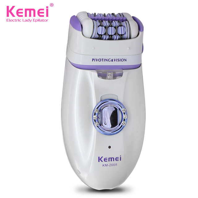 Nueva Kemei KM-2668 Impermeable Recargable 2 En 1 Electric Lady Afeitadora Herramientas Para Axilas Bikini Cuerpo Cara Depiladora Lana