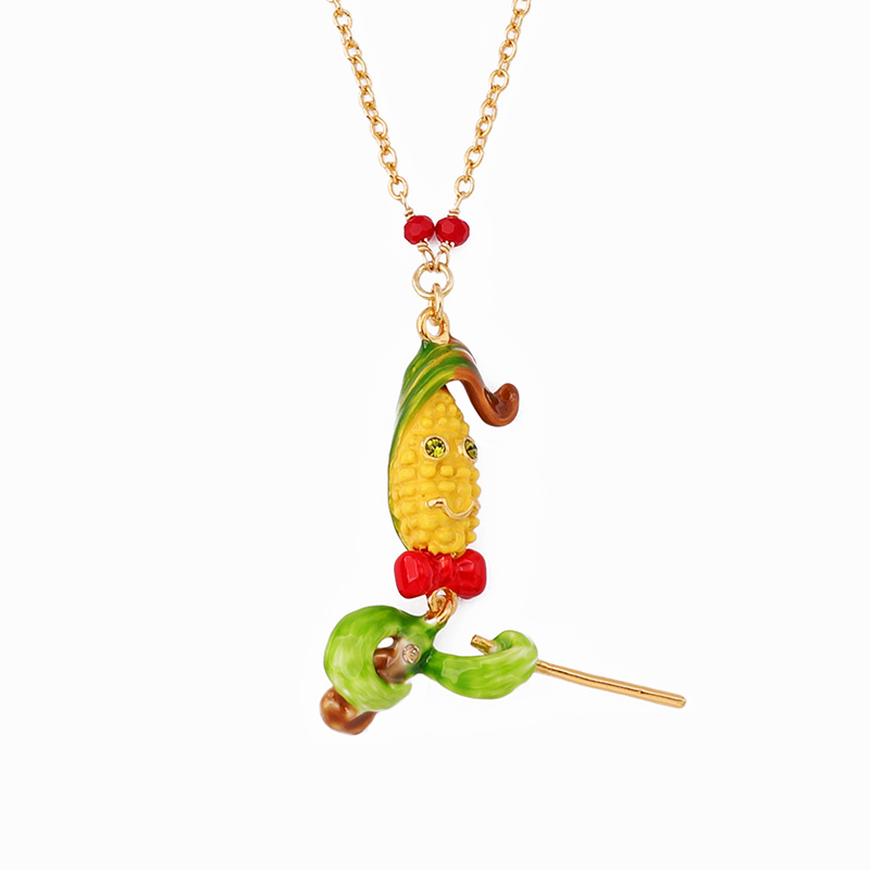 Juicy Grape New Personality Hand-painted Enamel Corn Violin Necklace Women Copper Plated Gilded Collarbone ChainJuicy Grape New Personality Hand-painted Enamel Corn Violin Necklace Women Copper Plated Gilded Collarbone Chain