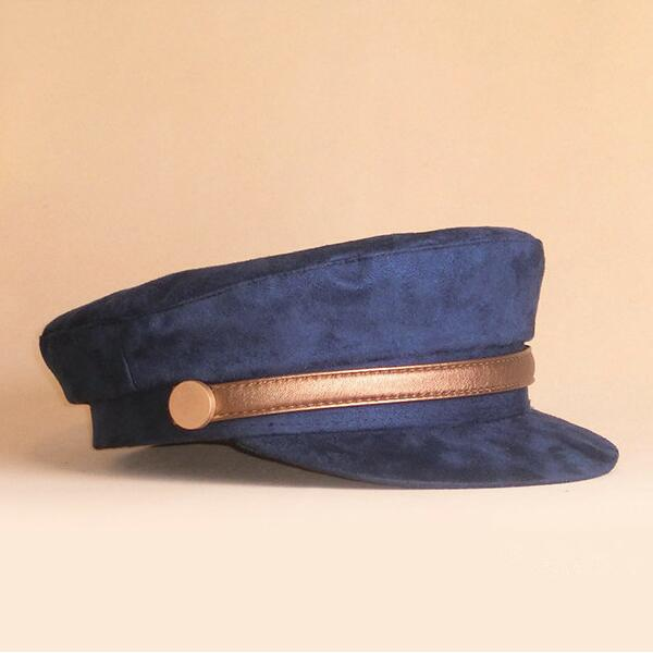 0fcb4cf63ef ... spain xongkoro military hat flat top customized chamois leatherl navy  cap boys girls old fashion visors