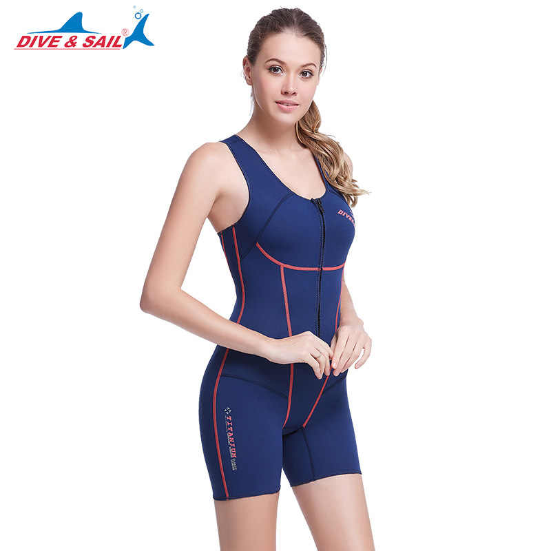 DIVE SAIL 1.5mm SCR Neoprene Women Sleeveless Wetsuit Slither Skin Short Diving  Suits One-piece 76903da54