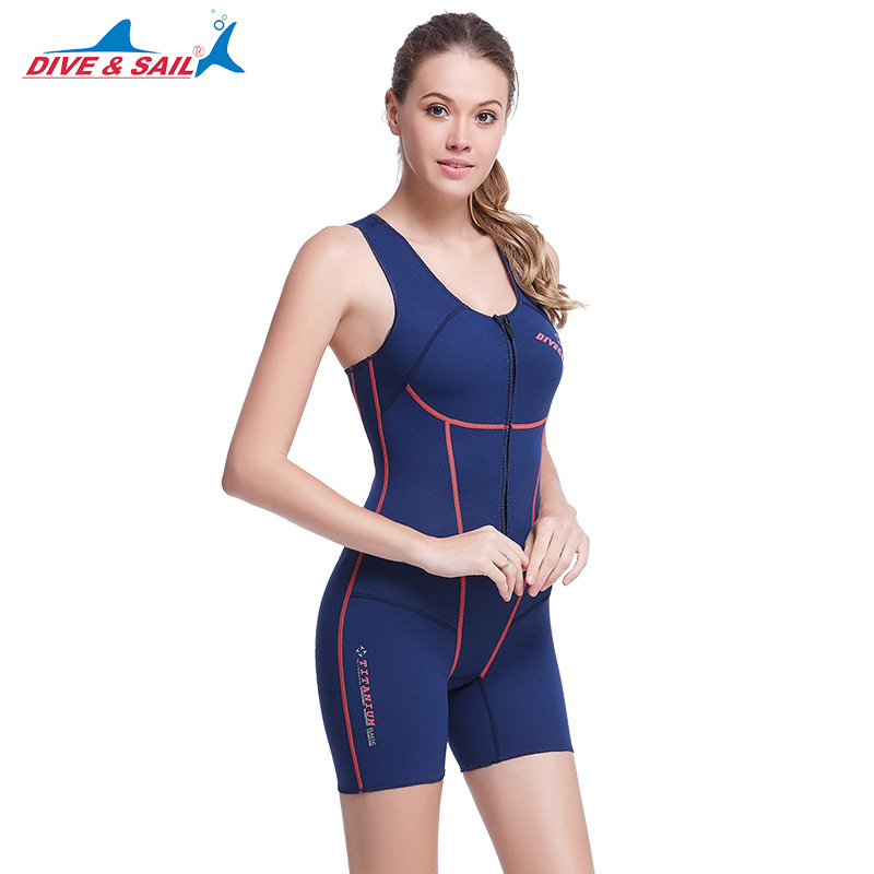 DIVE&SAIL 1.5mm SCR Neoprene Women Sleeveless Wetsuit Slither Skin Short Diving Suits One-piece Keep Warm Swimwear Front Zipper stylish scoop neck sleeveless sequins one piece women s swimwear