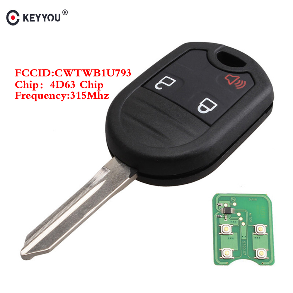 KEYYOU 3 Buttons Remote Key For <font><b>Ford</b></font> <font><b>F150</b></font> 250 350 2004 2005 <font><b>2006</b></font> 2007-2010 Fob 315mhz With 4D63 Chip CWTWB1U793 Keyless Car Key image