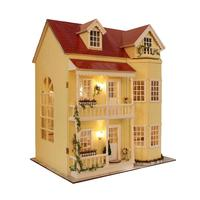 Wooden Dollhouse Miniature 3D Kits Large Villa Model Furnitures Show Photos LED Light Music Box