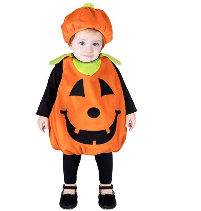 2019 Kids Halloween Costumes Cartoon Pumpkin Cute Outfit Microfiber Hat Special Party Baby   Rompers   Lovely Kids Suit