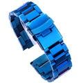 Edelstahl Uhr Armband 18mm 20mm 22mm 24mm Metall Uhr Bands Link Strap Blau Schwarz Gold uhr Zubehör-in Uhrenbänder aus Uhren bei