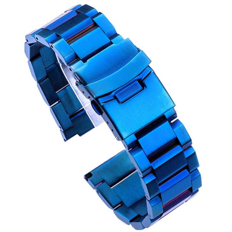 Stainless Steel Watch Bracelet 18mm 20mm 22mm 24mm Metal Watch Bands Link Strap Blue Black Gold Watch Accessories