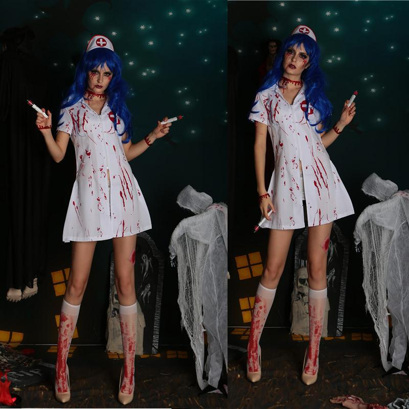 2018 New Spoof Nurse Dresses Halloween Cosplay Costume Party Stage Bloody Devil Dress Suits Bloody Nurse Costume