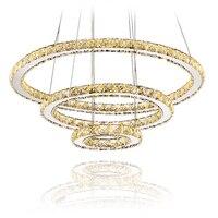 מודרני LED יהלומי טבעת נברשות כרום מראה גימור נירוסטה חדר תליית מנורת LED נברשת Lustres|ring amber|ring flashring rib -