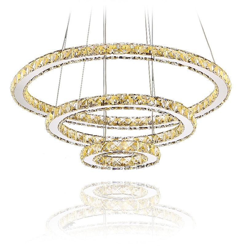 Modern LED Diamond Ring Chandeliers Chrome Mirror Finish Stainless Steel Room Hanging Lamp LED Chandelier Lustres alien mini r
