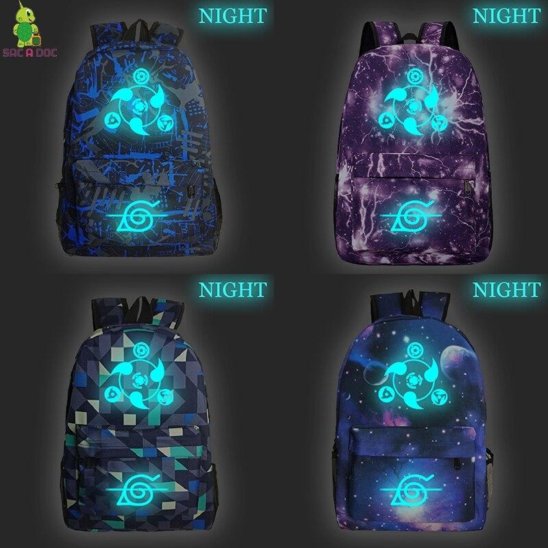 NARUTO Prints Womens Backpacks Bag Luminous Men's Laptop Backpack Teenager Daypack For Student Schoolbag Travel Bags Rucksack